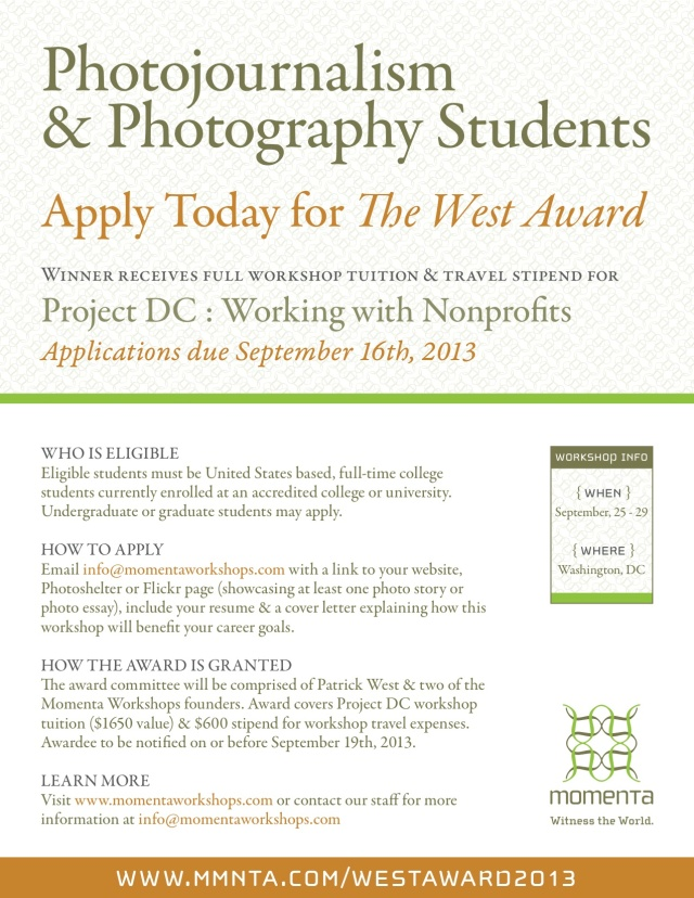 The West Award: Free tuition & travel stipend for DC Workshop